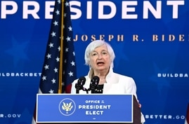 Treasury secretary nominee Janet Yellen speaks after US President-elect Joe Biden announced his economic team at The Queen…
