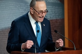 US Senate Minority Leader Chuck Schumer, Democrat of New York, speaks during a press conference at the US Capitol in Washington…