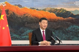This video grab taken on January 25, 2021, from the website of the World Economic Forum shows China's President Xi Jinping…