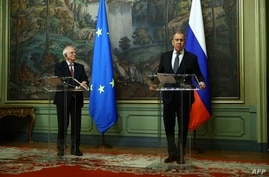 Russian Foreign Minister Sergei Lavrov and European Union High Representative for Foreign Affairs and Security Policy Josep…