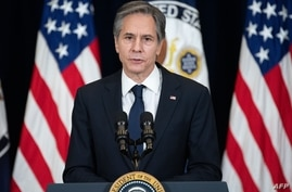 US Secretary of State Antony Blinken speaks to staff at the US State Department during the first visit of US President Joe…