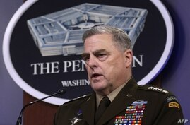 ARLINGTON, VIRGINIA - MAY 06: U.S. Chairman of the Joint Chiefs of Staff General. Mark Milley participates in a news briefing…