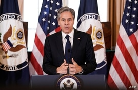 US Secretary of State Antony Blinken delivers remarks on the release of the 2021 Trafficking in Persons (TIP) Report at the…