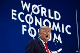 President Donald Trump delivers the opening remarks at the World Economic Forum, Tuesday, Jan. 21, 2020, in Davos, Switzerland…