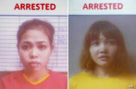 FILE - This combination of Feb. 19, 2017, photos released by Royal Malaysia Police shows detained Indonesian suspect Siti…