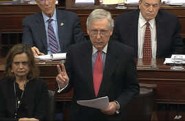 In this image from video, Senate Majority Leader Mitch McConnell, R-Ky., speaks during the impeachment trial against President…