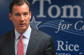 Former Nassau County Executive Thomas Suozzi speaks to reporters at his campaign headquarters in East Meadow, N.Y., on Thursday…