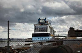 The cruise ship Anthem of the Seas is docked at the Cape Liberty Cruise Port on Friday, Feb. 7, 2020, in Bayonne, N.J…