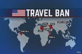 US Flag with TRAVEL BAN lettering over map with IRAN, LIBYA, SOMALIA, SYRIA, YEMEN, VENEZUELA, and NORTH KOREA highlighted,…