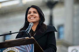 Democratic presidential contender Tulsi Gabbard at a Martin Luther King Jr. Day rally on Monday, Jan. 20, 2020, in Columbia, S…