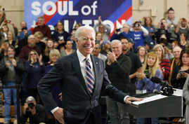 Democratic presidential candidate former Vice President Joe Biden speaks during a campaign event Thursday, Jan. 30, 2020, in…