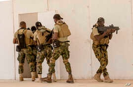 In this Tuesday Feb. 18, 2020, photo, Nigerian Navy Special Boat Service troops exercise under the supervision of British…