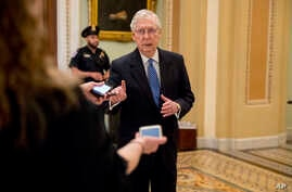Senate Majority Leader Mitch McConnell of Ky. speaks to reporters outside the Senate chamber after Democrats block a…