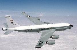 US Air Force RC-135U Combat Sent  reconnassance jet in flight, photo