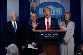 President Donald Trump speaks during press briefing with the coronavirus task force, at the White House, Thursday, March 19,…