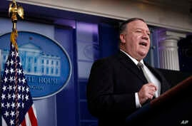 Secretary of State Mike Pompeo speaks about the coronavirus in the James Brady Press Briefing Room of the White House,…