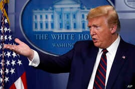 President Donald Trump speaks about the coronavirus in the James Brady Press Briefing Room of the White House, Thursday, April…