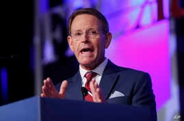 Family Research Council president Tony Perkins speaks to the 2018 Values Voters Summit in Washington, Friday, Sept. 21, 2018. …
