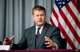 Secretary of the Army Ryan McCarthy speaks at a news conference at U.S. Army Medical Research and Development Command at Fort…
