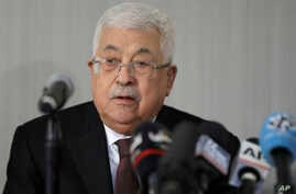 Palestinian President Mahmoud Abbas speaks during a news conference in New York, Tuesday, Feb. 11, 2020. (AP Photo/Seth Wenig)