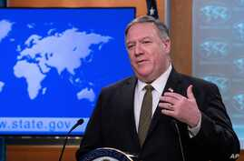 Secretary of State Mike Pompeo speaks during a press briefing at the State Department on Wednesday, April 22, 2020, in…