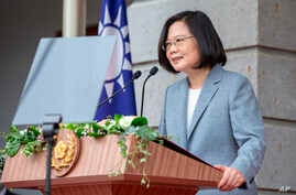 In this photo released by the Taiwan Presidential Office, Taiwanese President Tsai Ing-wen, delivers a speech after her…