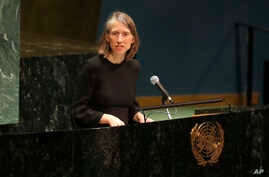 United States acting deputy ambassador to the United Nations Cherith Norman-Chalet speaks during a Holocaust memorial event at…