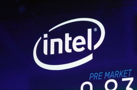 FILE - In this Oct. 3, 2018, file photo the Intel logo appears on a screen at the Nasdaq MarketSite, in New York's Times Square…