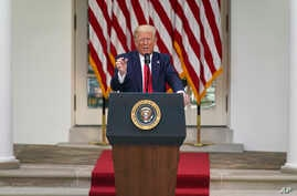 President Donald Trump answers questions from reporters during an event on protecting seniors with diabetes in the Rose Garden…