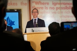 Brian Hook, a U.S. special representative on Iran, takes questions from the media at the Simon Wiesenthal Center in Los Angeles…