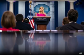 White House press secretary Kayleigh McEnany speaks during a press briefing at the White House, Monday, June 22, 2020, in…