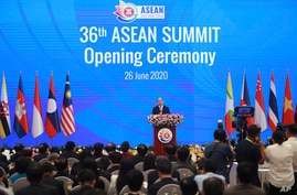 Vietnamese Prime Minister Nguyen Xuan Phuc delivers a speech at the opening ceremony of the 36th ASEAN Summit in Hanoi, Vietnam…