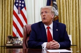President Donald Trump speaks during a law enforcement briefing on the MS-13 gang in the Oval Office of the White House,…
