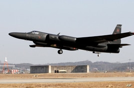 In this photo taken Feb. 16, 2012, a U.S. Air Force U-2 spy plane takes off during a training flight at the U.S. airbase in…