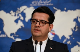 In this May 28, 2019 photo, Iran's Foreign Ministry spokesman Abbas Mousavi speaks at a press conference in Tehran, Iran. Iran…