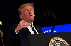 President Donald Trump speaks at Trump National Golf Club Bedminster in Bedminster, N.J., Friday, Aug. 7, 2020. (AP Photo/Susan…