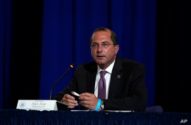 Health and Human Services Secretary Alex Azar speaks during a roundtable on donating plasma at the American Red Cross national…