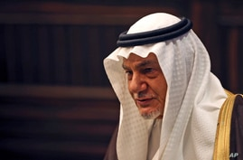 Saudi Prince Turki al-Faisal talks to the Associated Press in Abu Dhabi, United Arab Emirates, Saturday Nov. 24, 2018. A…