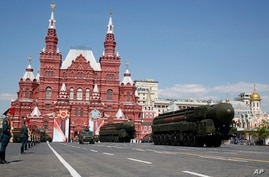 Russian ICBM missile launchers move during the Victory Day military parade marking 71 years after the victory in WWII in Red…