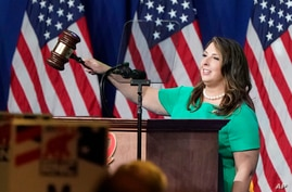 Republican National Committee Chairwoman, Ronna McDaniel, gavels the call-to-order at the opening of the first day of the…