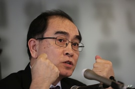 Thae Yong Ho, a former minister at the North Korean Embassy in London who came to Seoul with his family in 2016, speaks during…