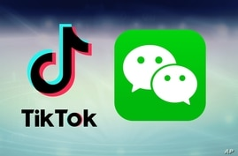 TikTok and WeChat logos, on texture, partial graphic