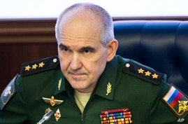 Col. Gen. Sergei Rudskoi of the military's General Staff speaks during a briefing in the Russian Defense Ministry in Moscow,…
