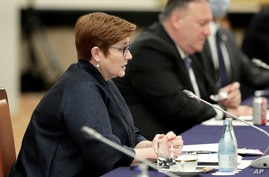 Australia Foreign Minister Marise Payne speaks during the Quadrilateral Security Dialogue (Quad) ministerial meeting in Tokyo,…