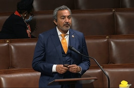 In this image from video, Rep. Ami Bera, D-Calif., speaks on the floor of the House of Representatives at the U.S. Capitol in…