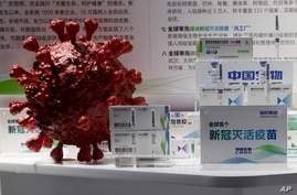 Samples of a COVID-19 vaccine produced by Sinopharm subsidiary CNBG are displayed near a 3D model of a coronavirus during a…