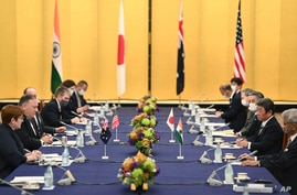 Australia's Foreign Minister Marise Payne, left, U.S. Secretary of State Mike Pompeo, second from left, Japan's Foreign…