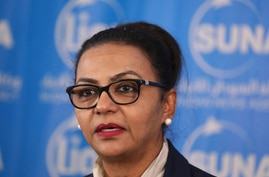 Sudanese Finance Minister Heba Mohamed Ali speaks during a press conference in Khartoum, Sudan, Tuesday Oct. 20, 2020…