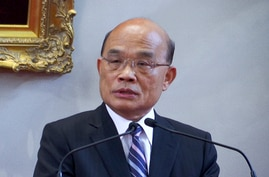 In this image made from video, newly appointed Taiwan's Premier Su Tseng-chang speaks during a press conference at the…