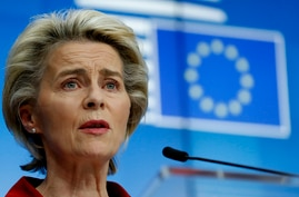 European Commission President Ursula von der Leyen speaks during a media conference after an EU summit in video conference…